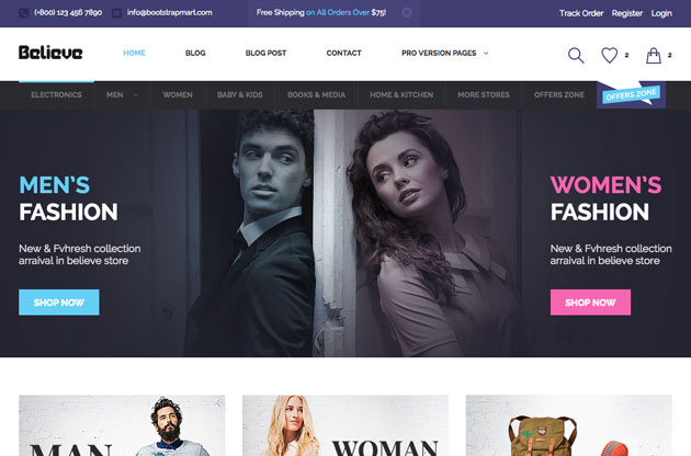 Believe - Free Bootstrap eCommerce Template